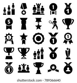 Trophy icons. set of 25 editable filled trophy icons such as ranking, medal, trophy, dollar award, award, tennis playing, number 1 medal