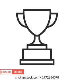 Trophy line icon. Simple outline style for app and web design element. Winner, award, cup, champ, contest, prize, won concept. Vector illustration isolated on white background. Editable stroke EPS 10.
