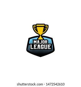 Trophy Logo, Cup Badge Logo Design Vector