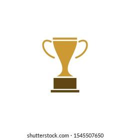trophy logo design vector illustration