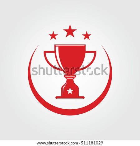 trophy logo vector template design stock vector royalty free