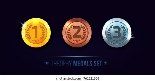Trophy medals set design for game. Level results vector illustration.