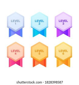 Trophy medals set design for games. Level results vector illustration. Level medals set design for the game.