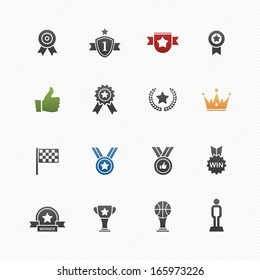 Trophy and prize vector symbol icon set on white background