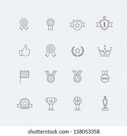 Trophy and prize vector thin line symbol icon