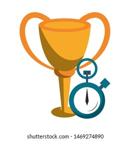 trophy success champion cup wiith chronometer cartoon vector illustration graphic design