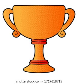 Trophy vector design. digital hand drawn. halftone texture