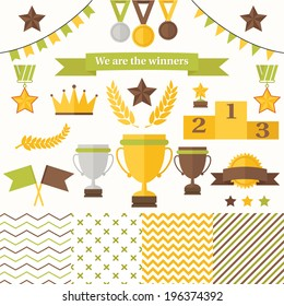 Trophy and winners icons set. Set includes cup, medals, honorary star pedestal, crown, flags, seamless patterns.