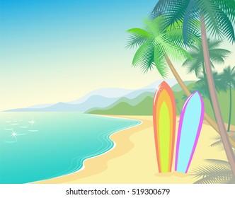 Tropic Beach Summer Landscape. Seashore wave hot. Vacation travel relax vector flat surfboard. Palm tree blue ocean sea.