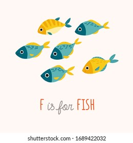 Tropic blue and yellow fish smiling. Cartoon vector clipart eps 10 hand drawn illustration isolated on white background.