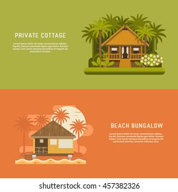 Tropic bungalow banners. Wooden house background templates. Jungle straw hut and beach bungalow backdrops for website and internet. Summer holidays concept. South houses for booking, rent or living.