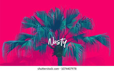 Tropic chinese fan palm tree. summer feeling, super neon pink template.