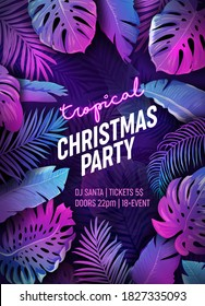Tropic Christmas Party Neon Flyer, Vibrant Vector Summer Holiday Poster, Disco monstera palm leaves design, winter beach holidays, New Year tropical background, Paradise purple template illustration