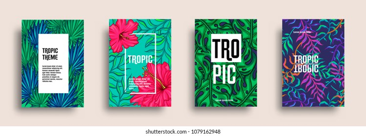 Tropic covers set. Trendy floral pattern design. Exotic hibiscus and palm leaves background. Vector