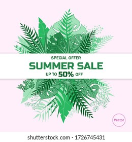 Tropic covers set. Tropical leaves banners background. Exotic botanical design. Modern Sale flyer in Vector. Summer sale banner. Big sale advertisement