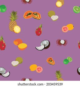 Tropic exotic fruits purple seamless pattern vector background.