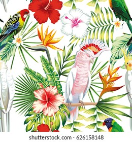 Tropic exotic multicolor birds parrot, macaw with tropical plants, banana palm leaves, flowers Strelitzia, hibiscus on a white background. Print jungle seamless vector pattern