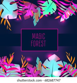 Tropic flyer design template. Neon tropical leaves. Advertisement, background. Night club, disco, party banner. Trendy fashionable advertisement, invitation, card, background in pink colors