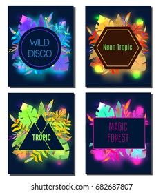 Tropic flyer design template. Neon tropical leaves. Advertisement, background. Night club, disco, party banner. Trendy fashionable advertisement, invitation, card, background