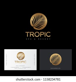 Tropic gold logo. Resort and Spa emblem. Tropical cosmetics. Beauty. Palm leaves in a circle. Identity, business card.
