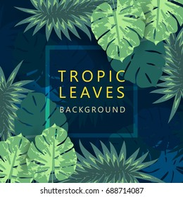 Tropic leave background, banner, poster with palm leave, jungle leaf.