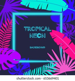 Tropic leaves the background with a neon lights frame for your text. Tropical flyer with exotic palm leaves and plants. A creative model of flowers and leaves with a paper card. The concept of nature