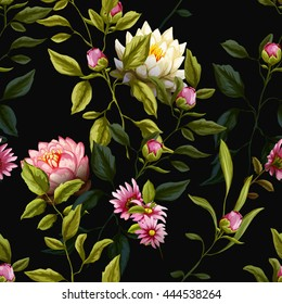 Tropic leaves with peony and roses buds, lotus and lily flowers. Seamless background pattern. Vector - stock.
