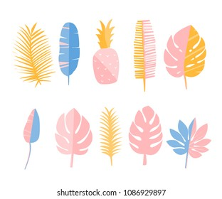 Tropic leaves and pineapple. Set of flat illustrations, decoration elements for cards, fashion prints and stationary