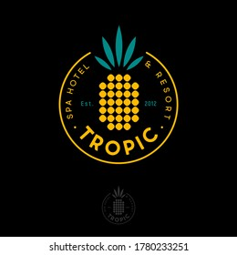 Tropic logo. Tropic Spa Hotel and Resort. Geometric symbol of pineapple into circle with letters.