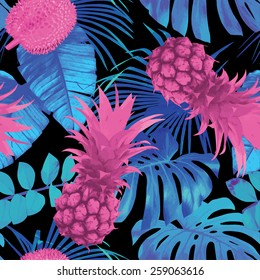 Tropic nature fruit floral seamless pattern. Summer exotic background with leaf banana palm, flowers and pineapple. Jungle vector wallpaper trendy blue pink style.