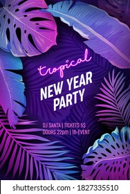 Tropic New Year Party Neon Flyer, Vibrant Vector Christmas Holiday Poster, Disco monstera palm leaves design, winter beach holidays, Tropical background, Paradise purple template illustration
