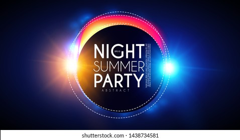Tropic night summer party banner. Palms leaves with light effects.