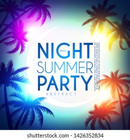 Tropic night summer party design template. Palms on a beach with light effects.
