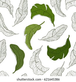 Tropic plants floral seamless jungle pattern. Print vector background of fashion summer wallpaper palm banana leaves style