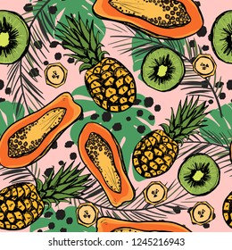 Tropic seamless pattern with exotic fruits and leaves. Summer background with pineapple and papaya