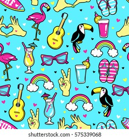 Tropic seamless pattern with Flamingo, Toucan, rainbow, cocktail, guitar, sunglasses, surf board, etc. Vector background with fashion patches and stickers in cartoon 80s-90s trendy style.