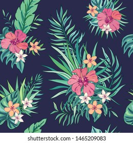 Tropic seamless pattern with hibiscus, plumeria and tropical leaves. Summer decoration print for wrapping, wallpaper, fabric. Seamless vector texture. Tropical bouquet flowers.