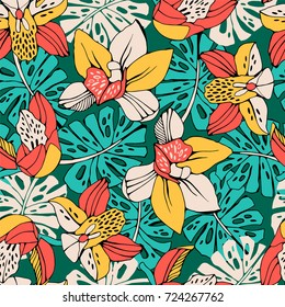 Tropic seamless pattern with orchid and monstera leafs.