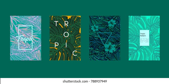 Tropic set of 4 templates. Summer vibes leaf background. Vector illustration.