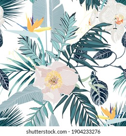 Tropic summer painting seamless pattern with palm leaf and white orchid and peony flowers. Trendy bunch exotic flower wallpaper on white background.