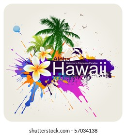 Tropical abstract background.  Vector palms, dolphins, plumeria flowers.