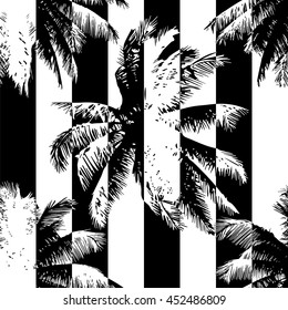 Tropical abstract seamless pattern - palms on a black and white geometric background