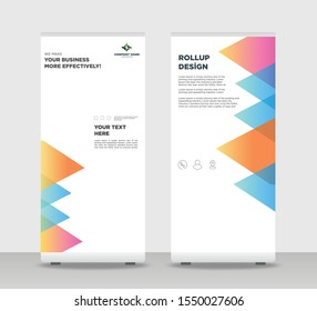 Tropical Abstract Shapes Modern Exhibition Advertising Trend Business Roll Up Banner Stand Poster Brochure flat design template creative concept. white background Roll Up EPS. Presentation