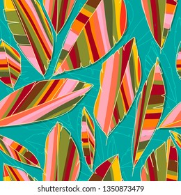 Tropical abstrct banana leaves, brightly colored seamless pattern