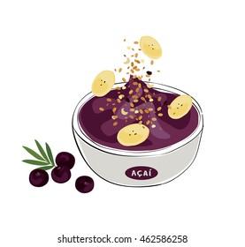 tropical acai: illustration of an acai bowl with granola and banana