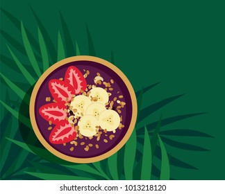Tropical Acai Smoothie Bowl - Acai fruit energy bowl with strawberries, banana and granola topping. Refreshing and healthy meal over palm leaves on green background. Top view vector illustration