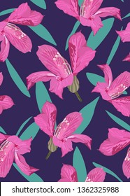 """Tropical aesthetic """"Hongkong orchid flowers""""  pastel pink and violet tone colors, hand draw style, vintage minimal seamless pattern"""