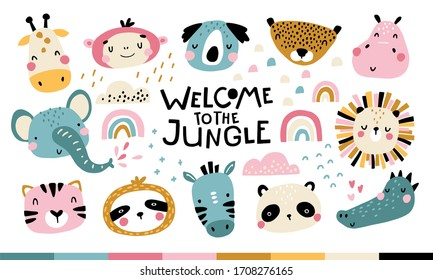 Tropical Africa Set. Welcome to the jungle. Cute animals faces. Childish print for nursery in a Scandinavian style. For baby posters, cards, clothes. Vector cartoon illustration in pastel colors.