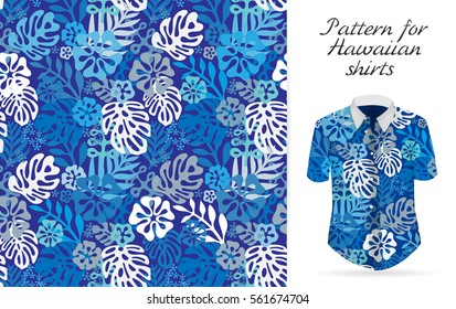 Tropical aloha pattern. Vector Hawaiian exotic flowers pattern on shirt mockup. Vector plants and flowers seamless background. Blue color tropical florals.