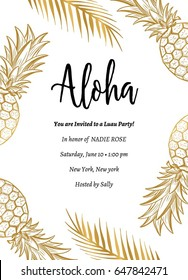 Tropical Aloha Summer Party Invite. Aloha Party Template Design with pineapple and branch.
